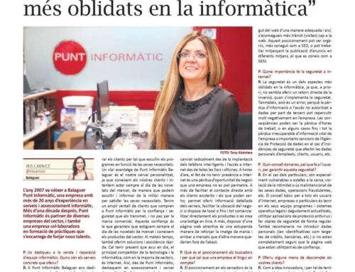 """""""La seguretat és un dels aspectes més oblidats en la informàtica"""", entrevista al diari La Mañana"""